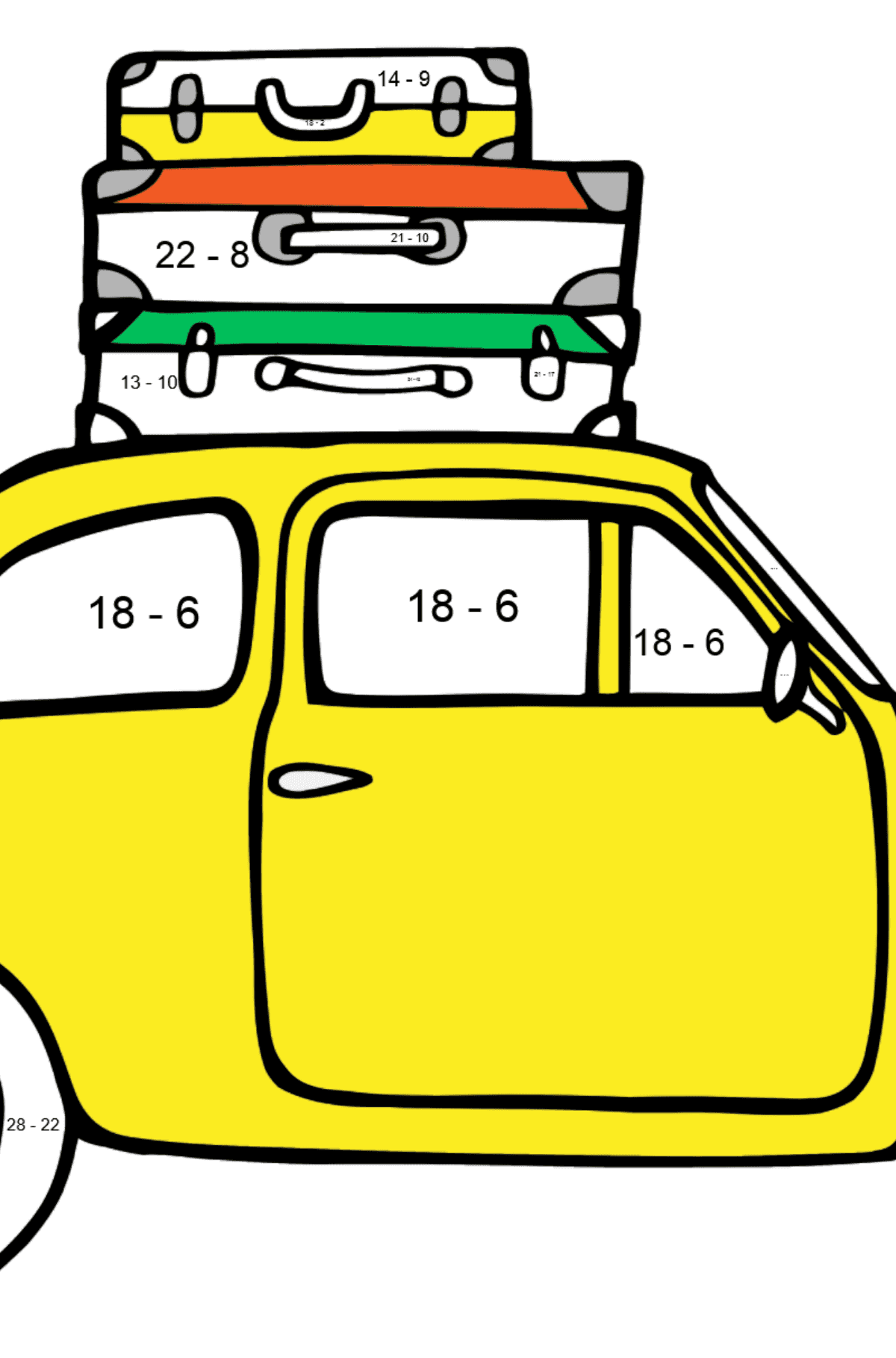 Fiat 600 car coloring page - Math Coloring - Subtraction for Kids