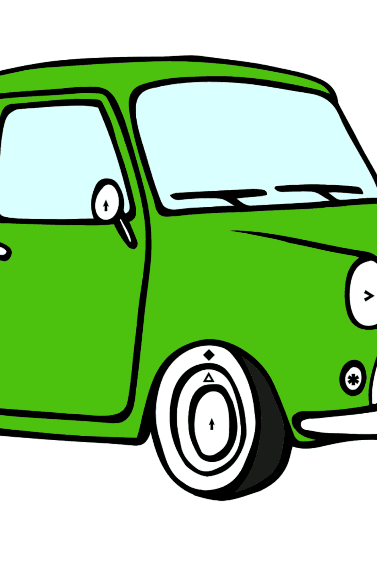 Fiat 500 coloring page (green car) - Coloring by Symbols for Kids