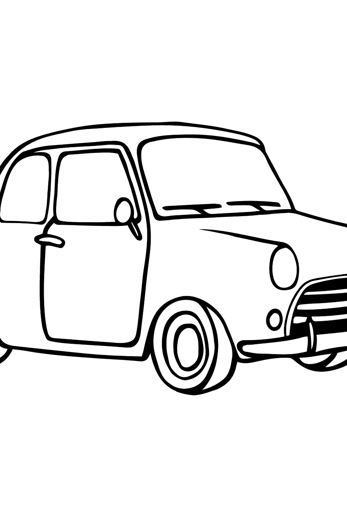 Fiat 500 coloring page (green car) - Coloring Pages for Kids