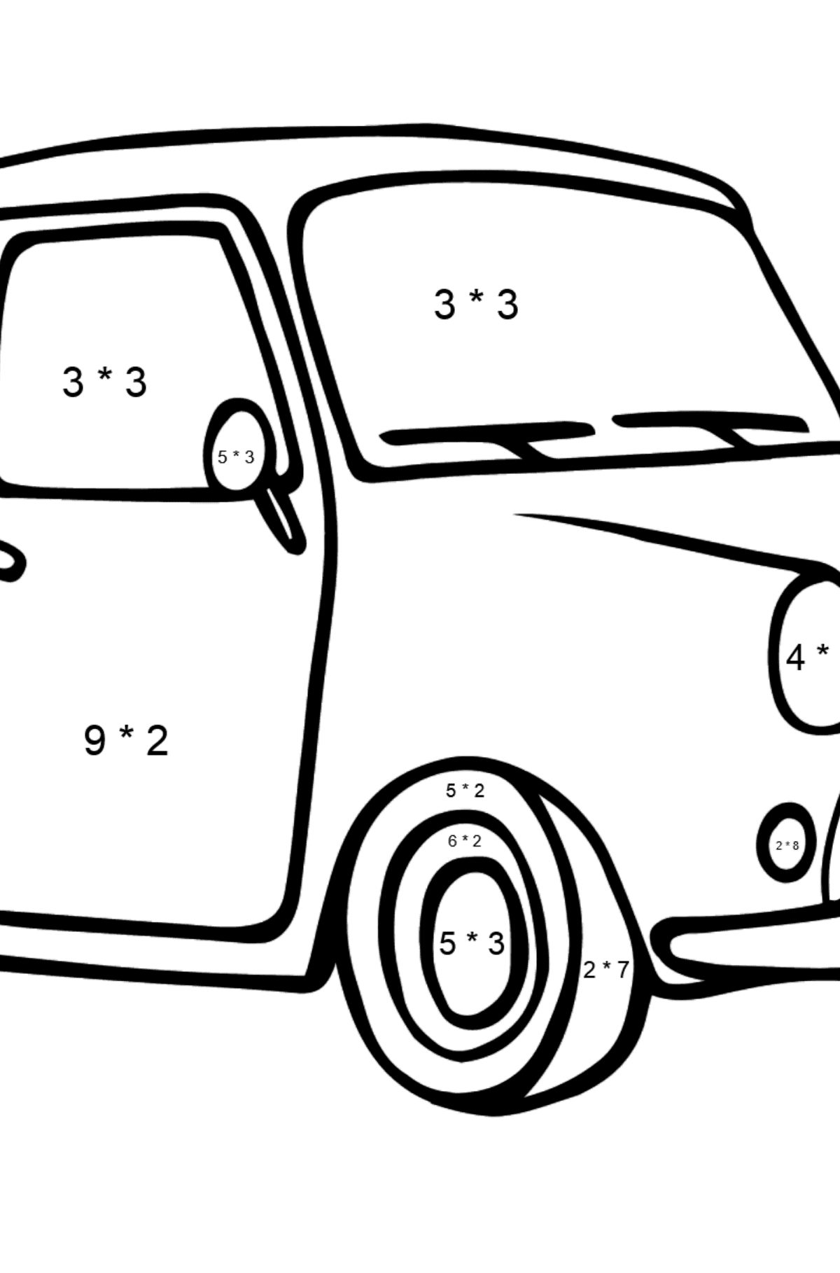 Fiat 500 coloring page (green car) - Math Coloring - Multiplication for Kids