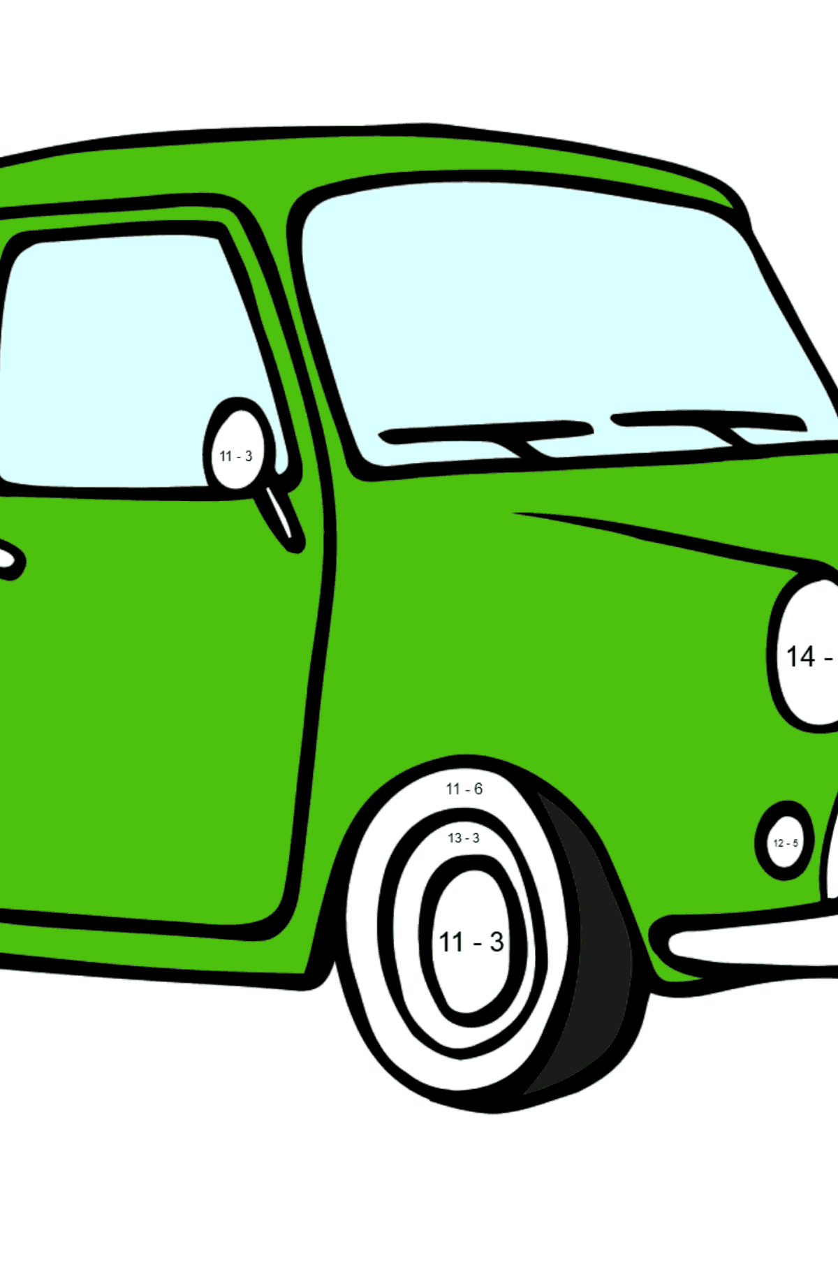 Fiat 500 coloring page (green car) - Math Coloring - Subtraction for Kids