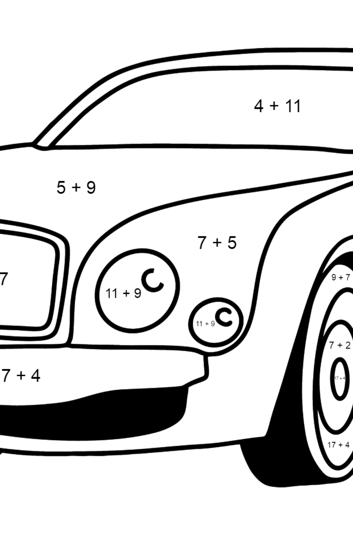Bentley Mulsanne Car Coloring Page - Math Coloring - Addition for Kids