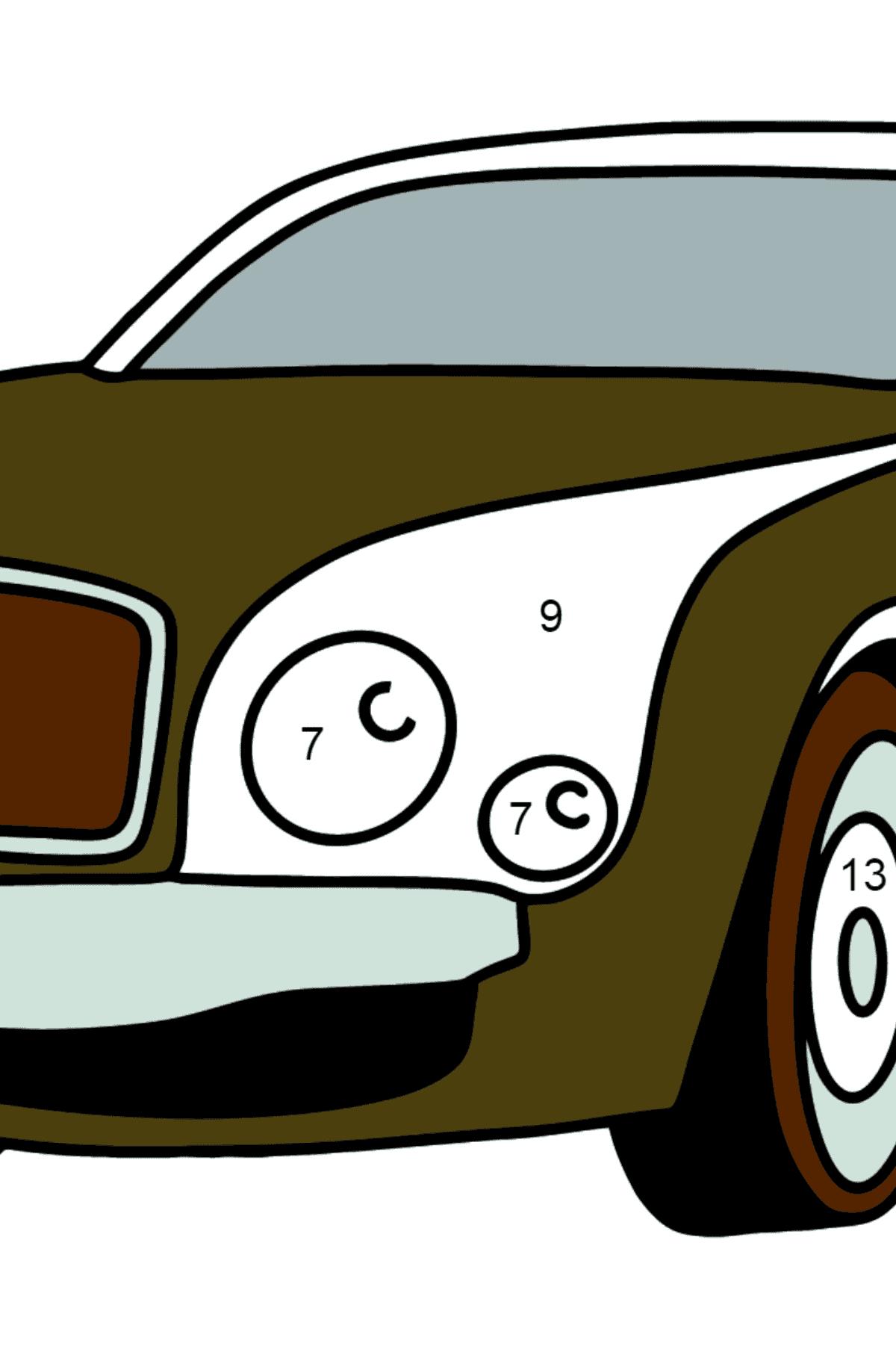 Раскраска Легковой Машины Bentley Mulsanne - Раскраска по Номерам для Детей
