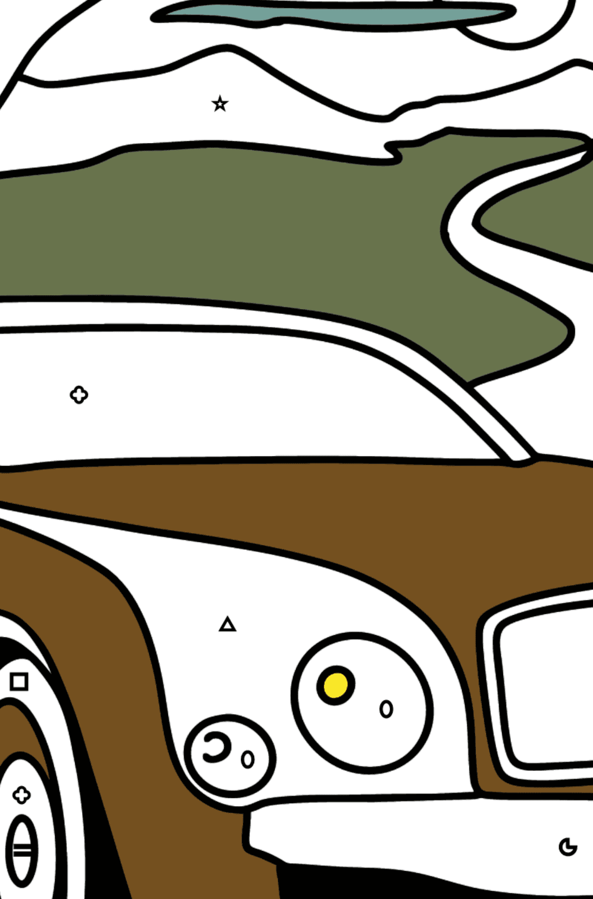 Bentley Mulsanne Car coloring page - Coloring by Symbols and Geometric Shapes for Kids