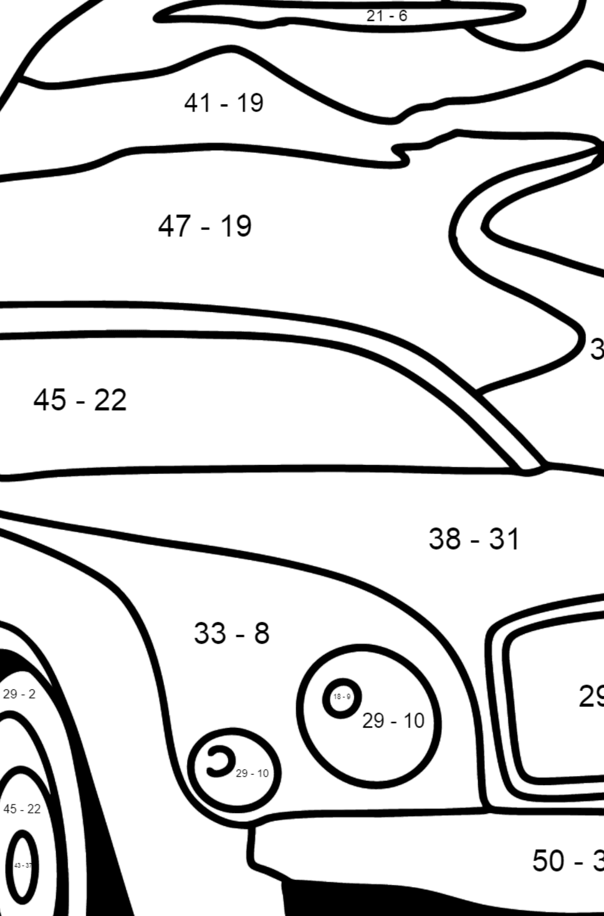 Bentley Mulsanne Car coloring page - Math Coloring - Subtraction for Kids