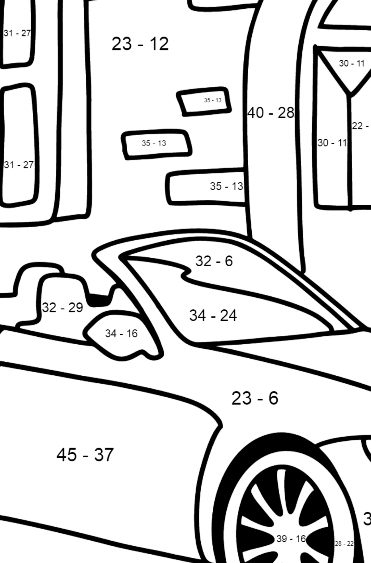 BMW Convertible coloring page - Math Coloring - Subtraction for Kids