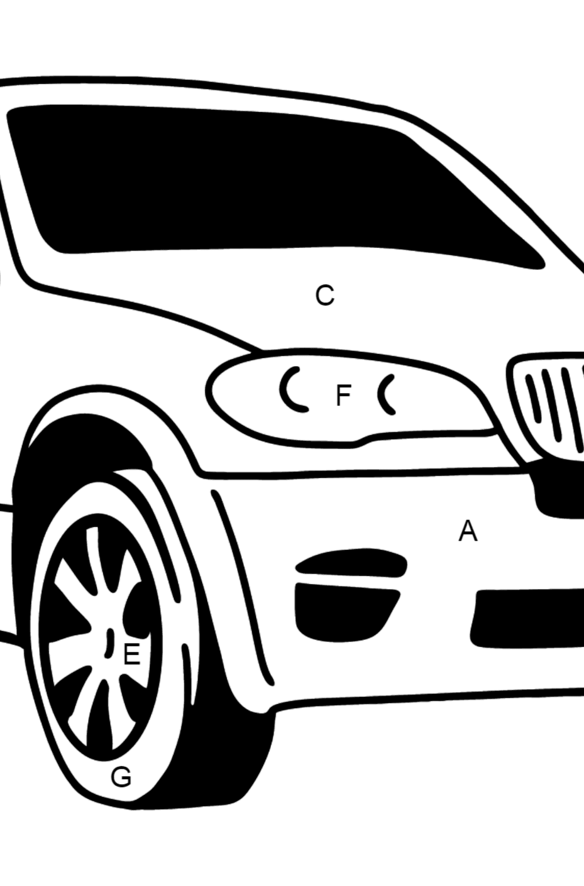 BMW X6 Crossover coloring page - Coloring by Letters for Kids