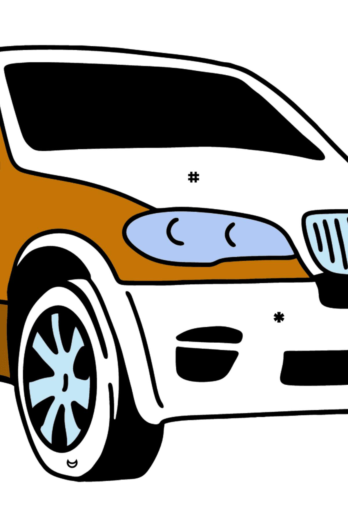 Раскраска Кроссовер BMW X6 - Раскраска по Символам для Детей