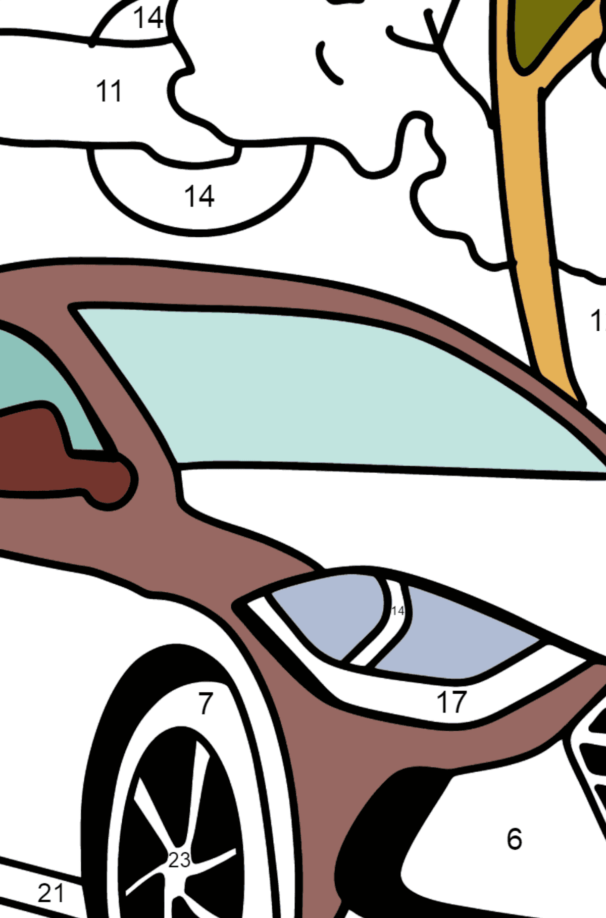 Hyundai car coloring page - Coloring by Numbers for Kids