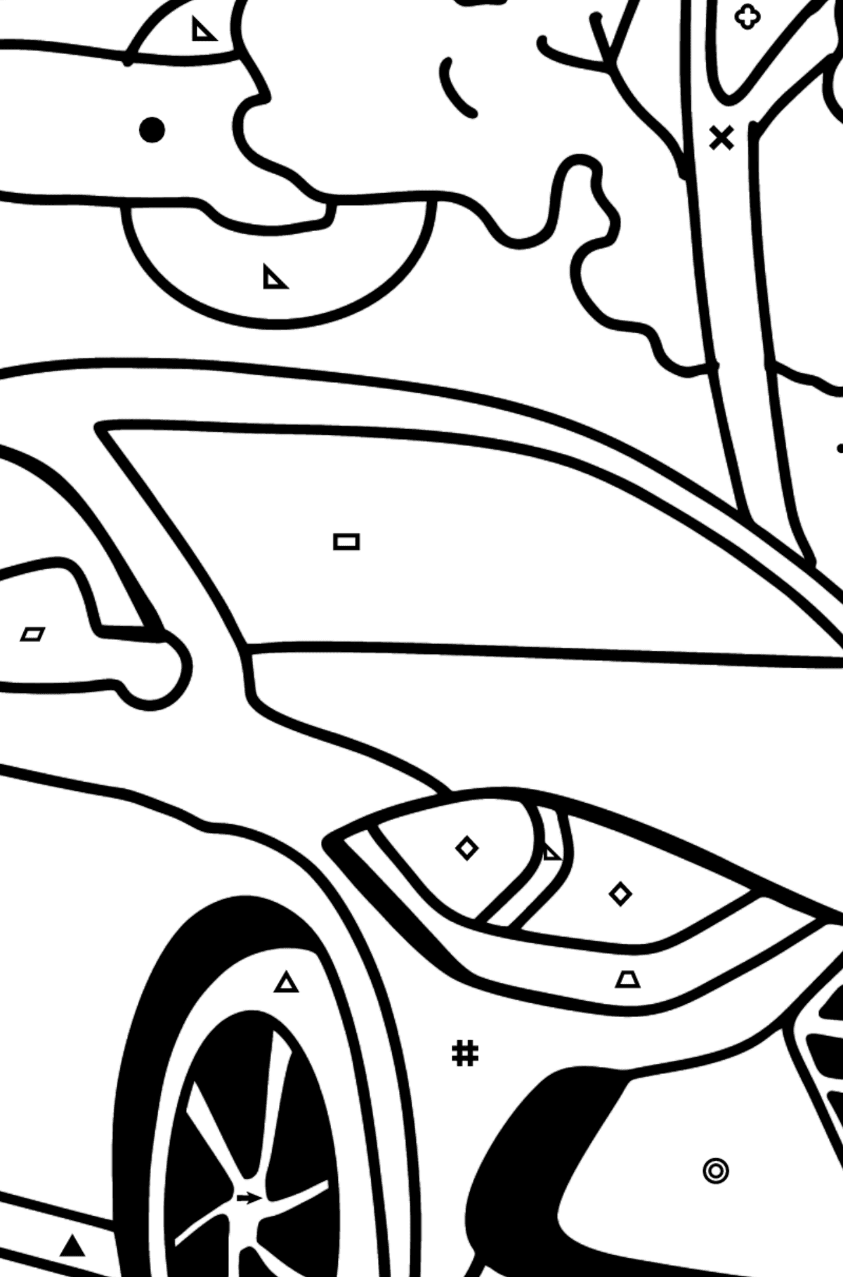 Hyundai car coloring page - Coloring by Symbols and Geometric Shapes for Kids