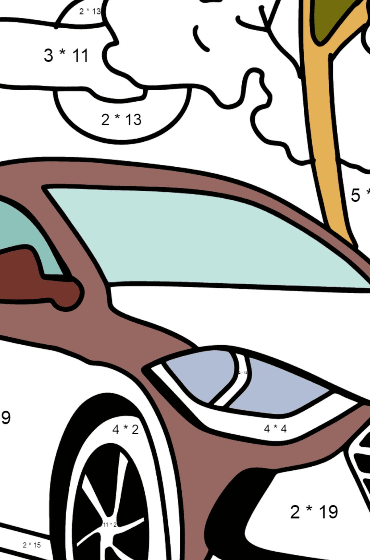 Hyundai car coloring page - Math Coloring - Multiplication for Kids