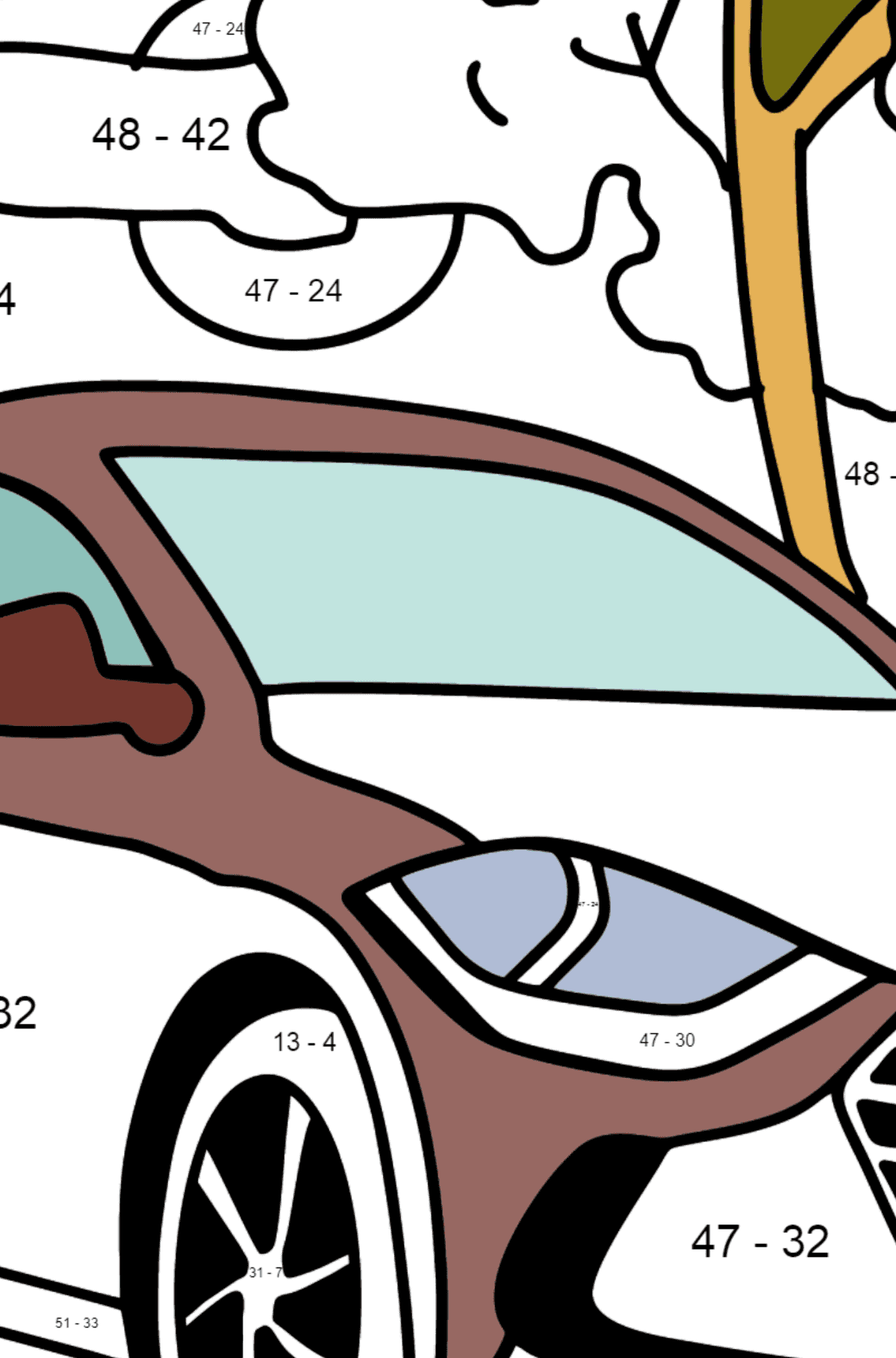 Hyundai car coloring page - Math Coloring - Subtraction for Kids