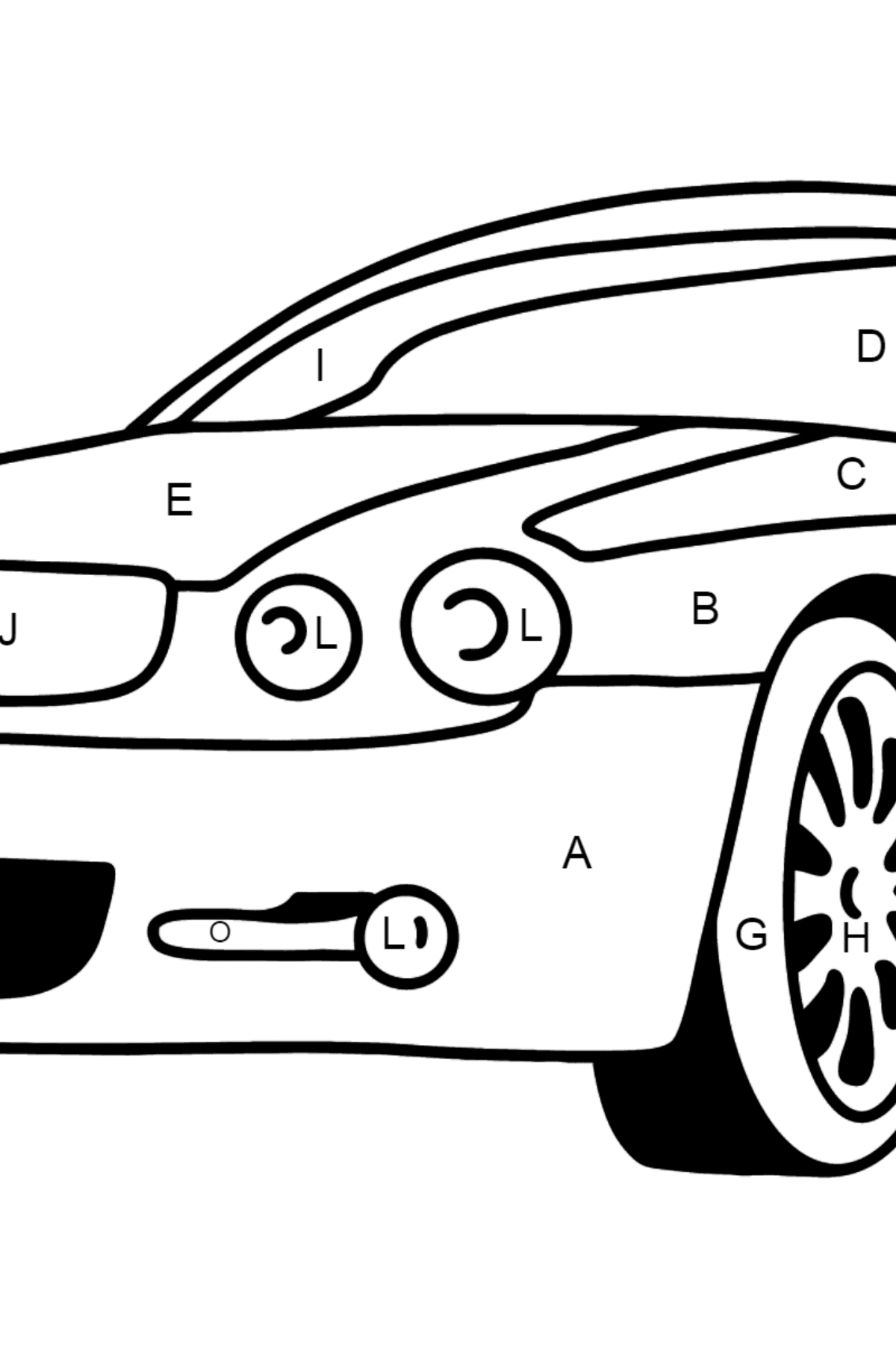 Jaguar GT coloring page - Coloring by Letters for Kids