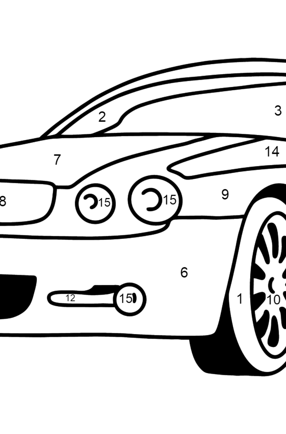 Jaguar GT coloring page - Coloring by Numbers for Kids