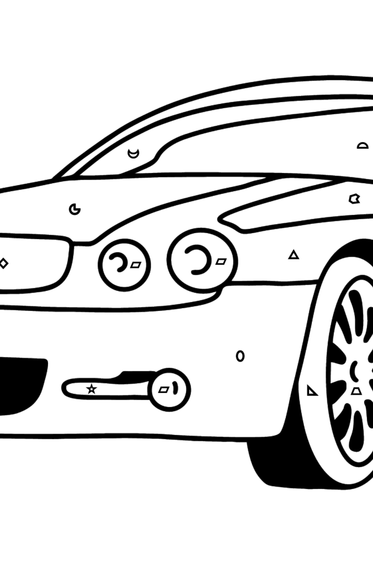 Jaguar GT coloring page - Coloring by Geometric Shapes for Kids