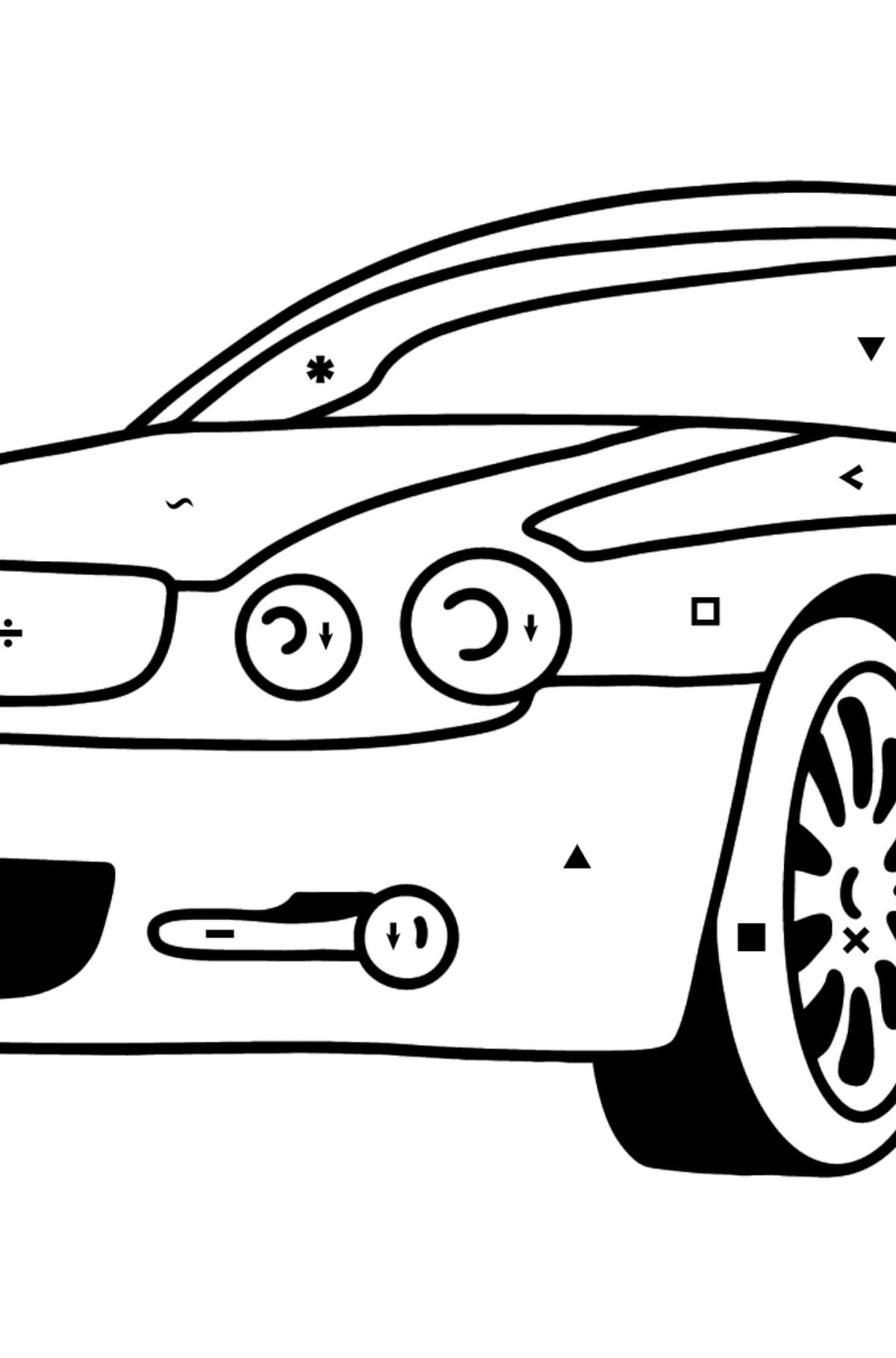 Jaguar GT coloring page - Coloring by Symbols for Kids