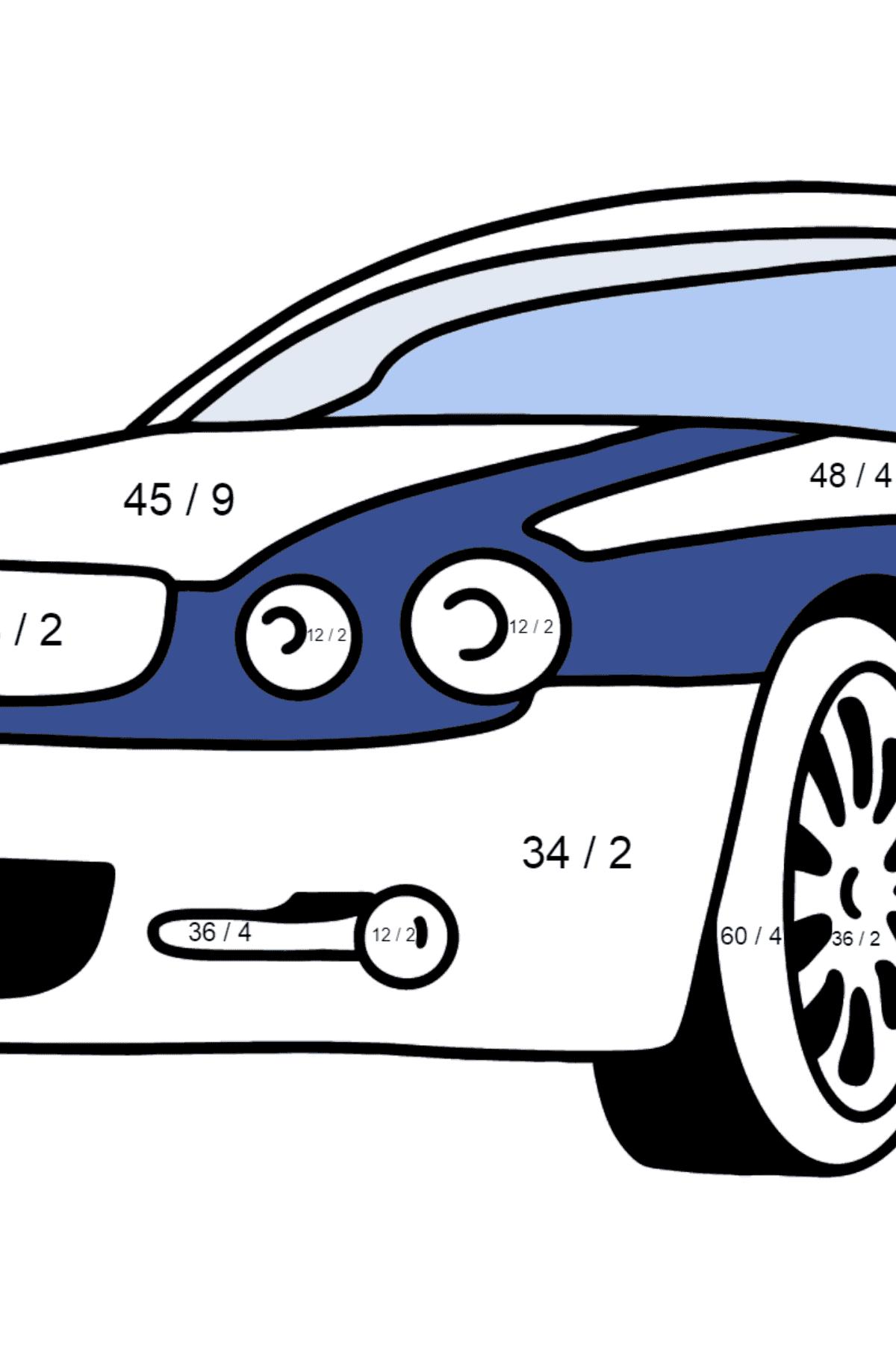 Jaguar GT coloring page - Math Coloring - Division for Kids