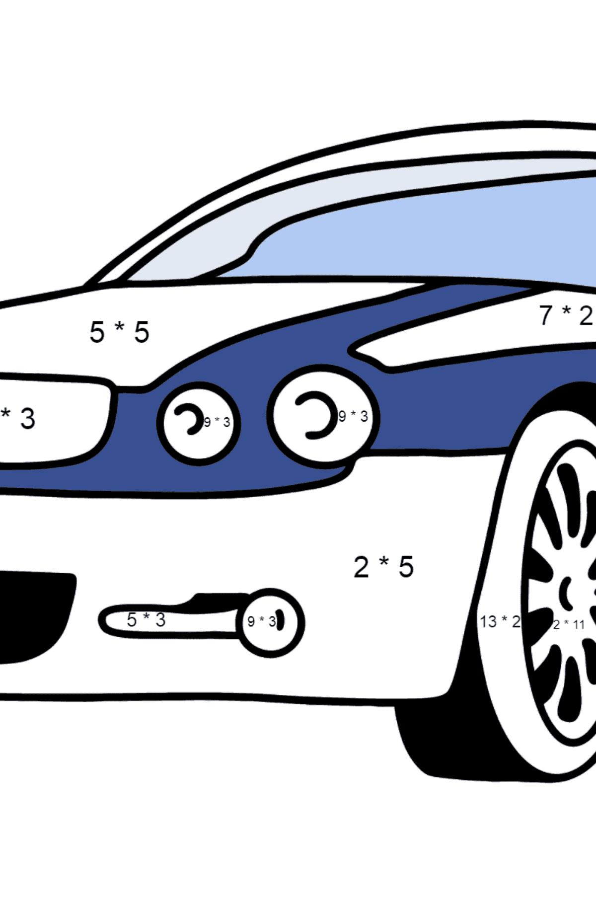 Jaguar GT coloring page - Math Coloring - Multiplication for Kids