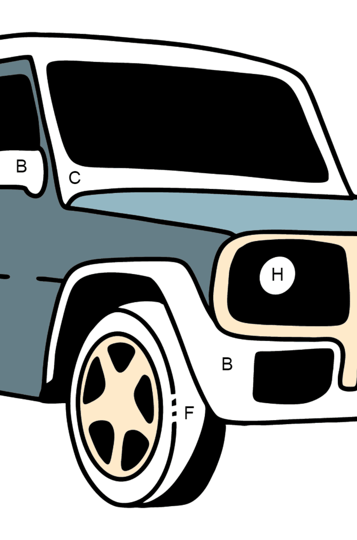 Mercedes-Benz G-Class SUV coloring page - Coloring by Letters for Kids