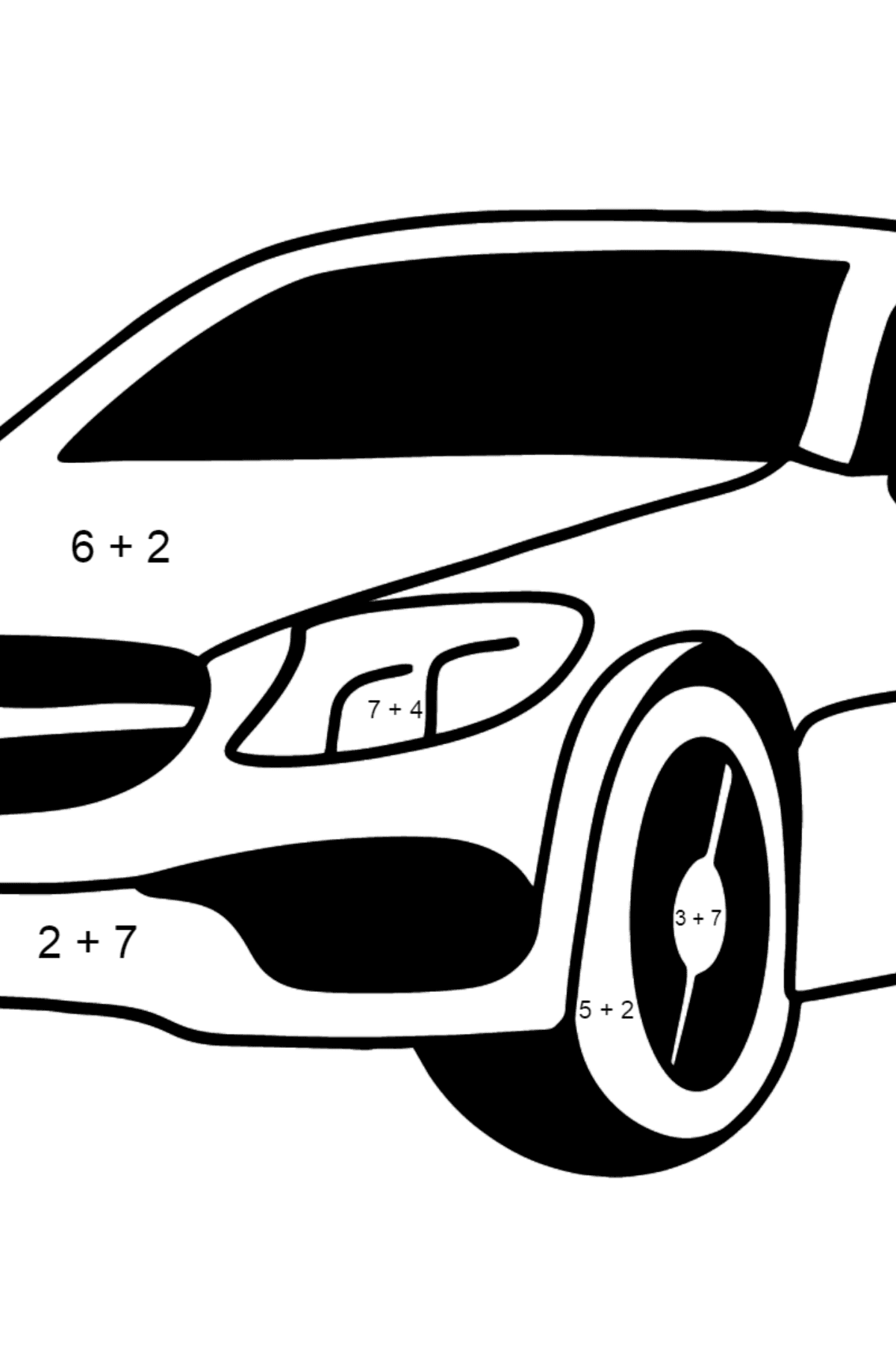 Mercedes C63 AMG car coloring page - Math Coloring - Addition for Kids