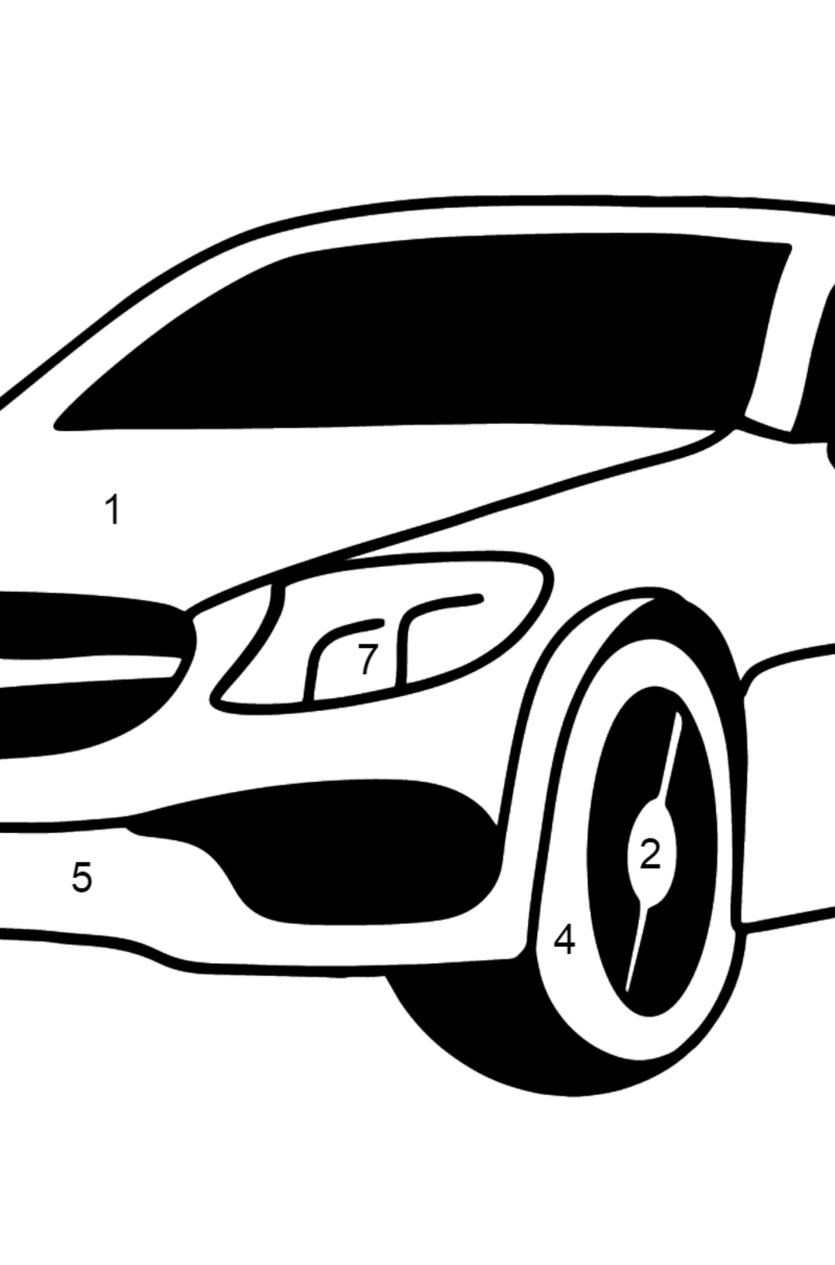 Mercedes C63 AMG car coloring page - Coloring by Numbers for Kids