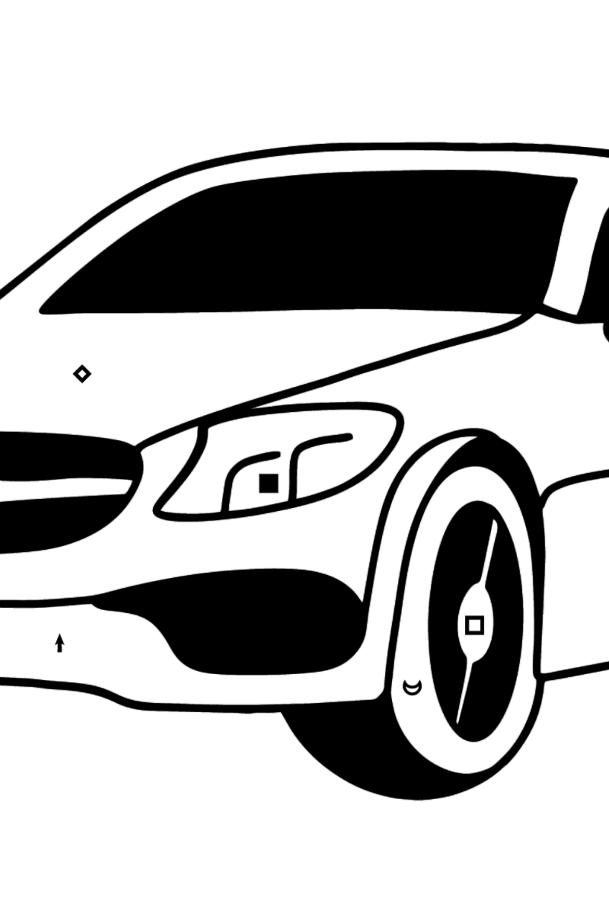 Mercedes C63 AMG car coloring page - Coloring by Symbols for Kids