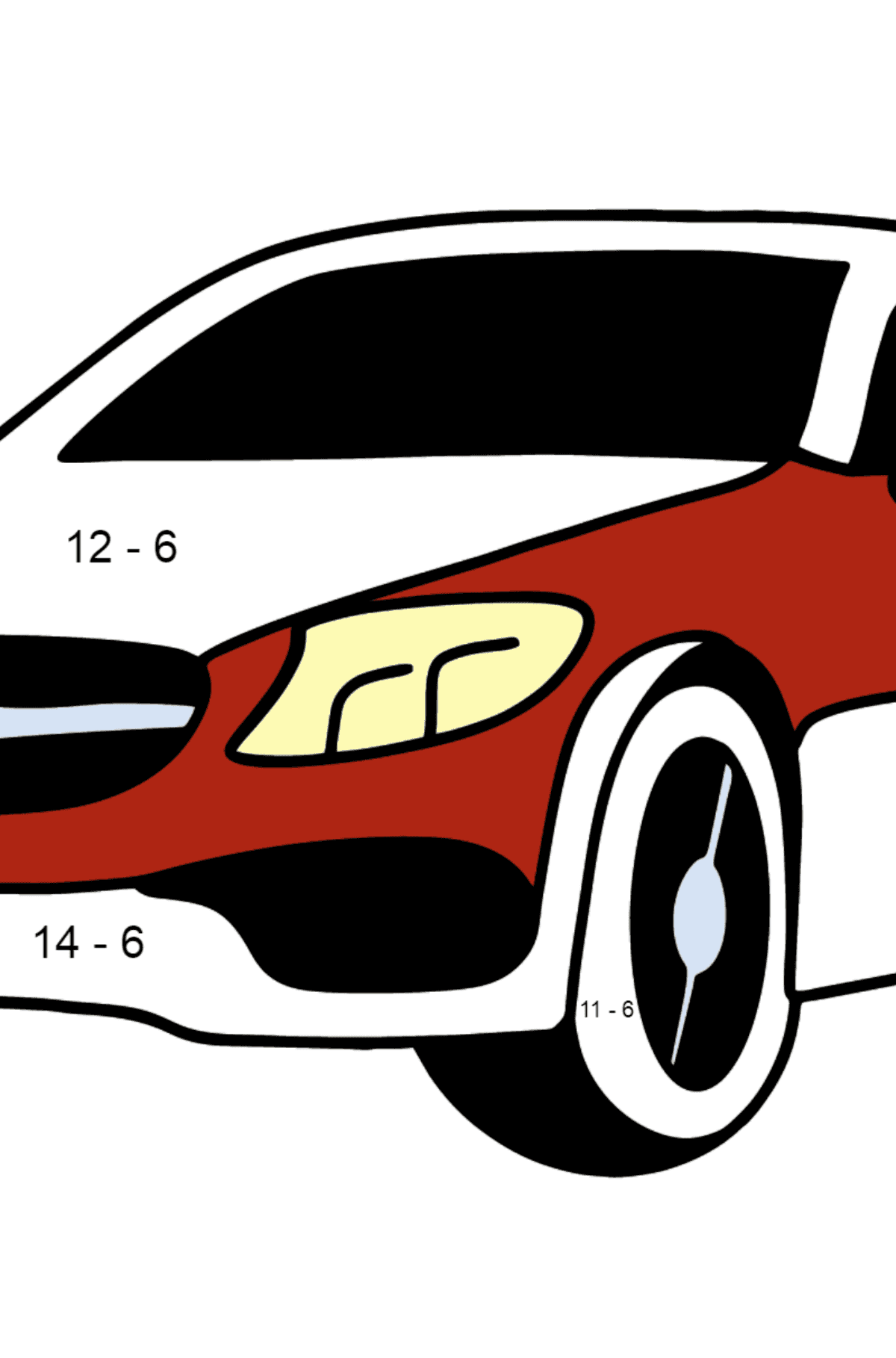 Mercedes C63 AMG car coloring page - Math Coloring - Subtraction for Kids