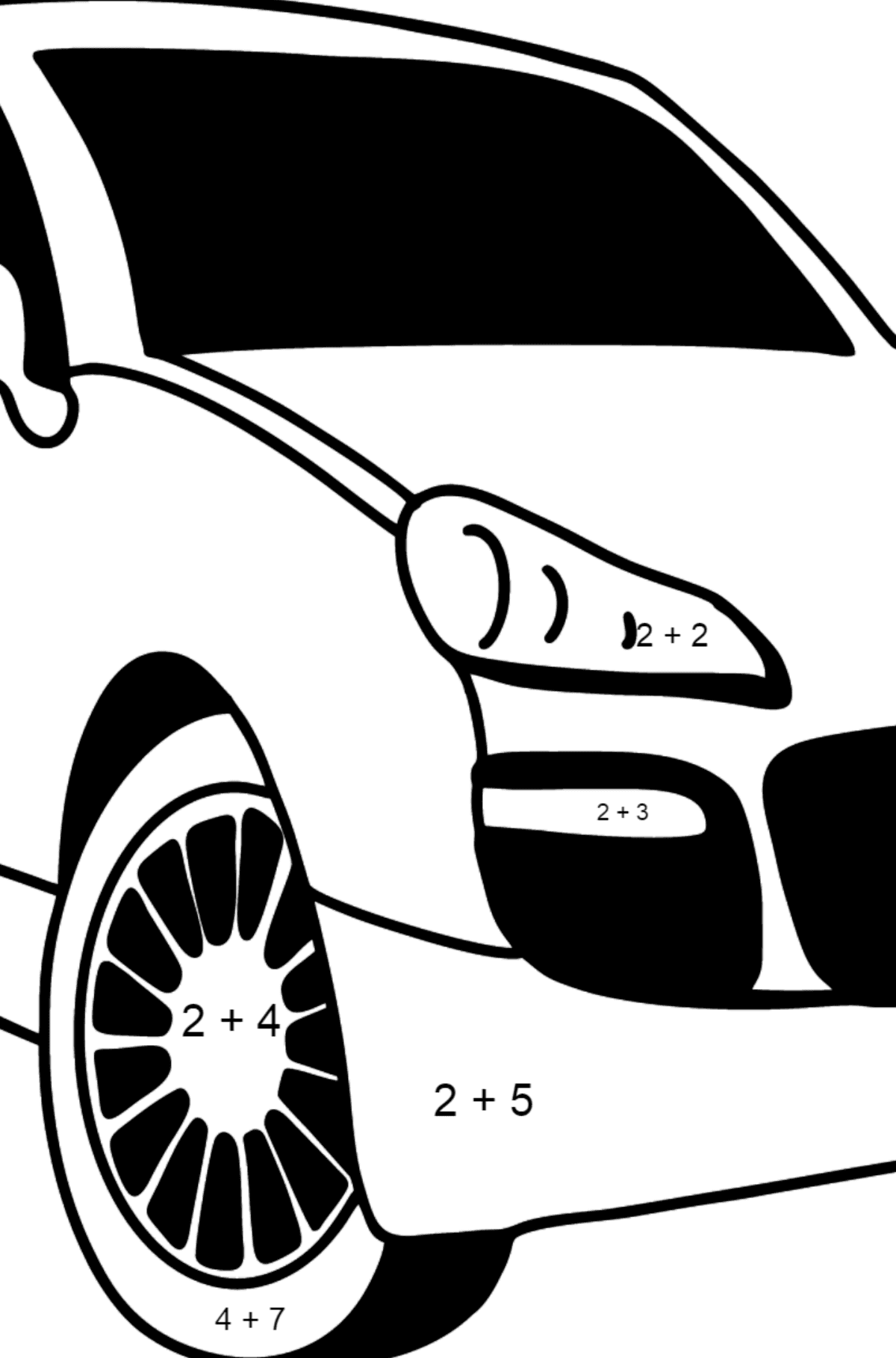 Porsche Cayenne Crossover coloring page - Math Coloring - Addition for Kids