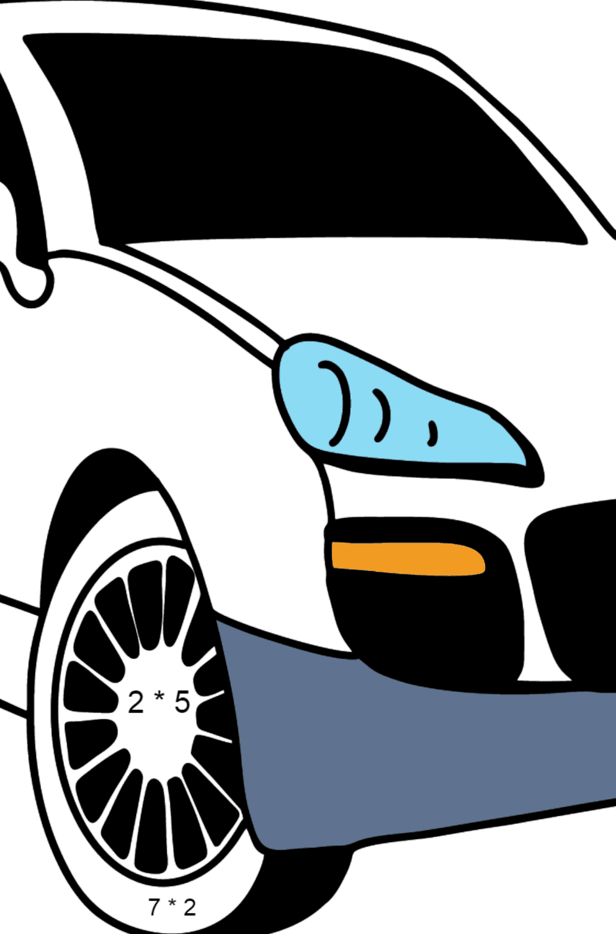 Porsche Cayenne Crossover coloring page - Math Coloring - Multiplication for Kids