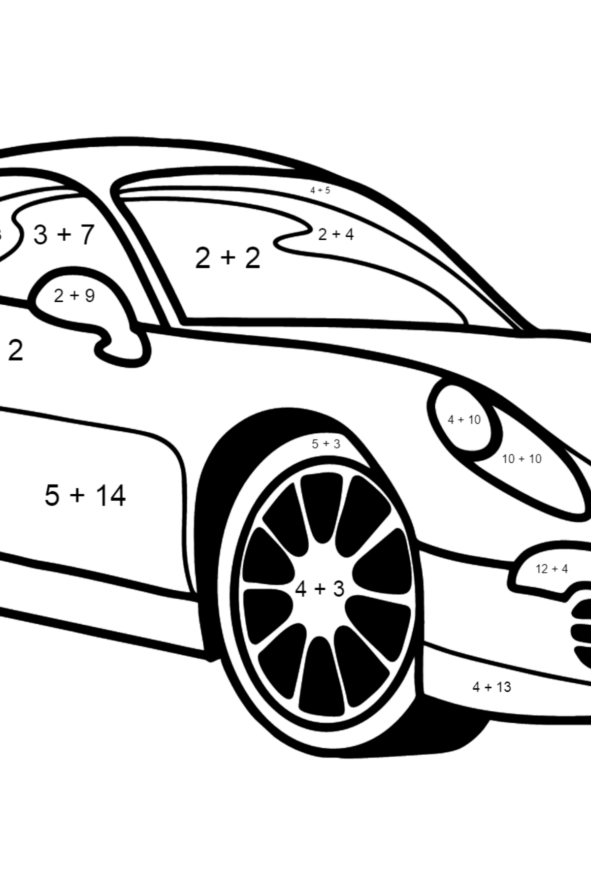 Porsche Cayman Sports Car coloring page - Math Coloring - Addition for Kids