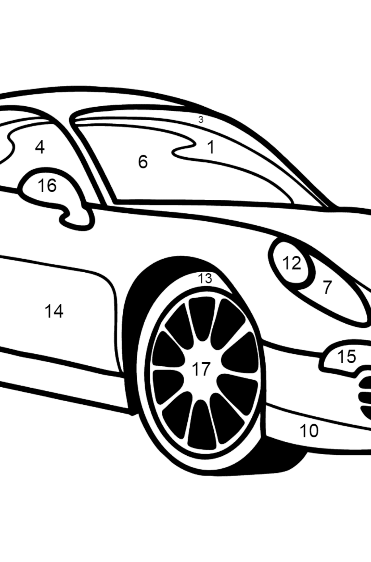 Porsche Cayman Sports Car coloring page - Coloring by Numbers for Kids