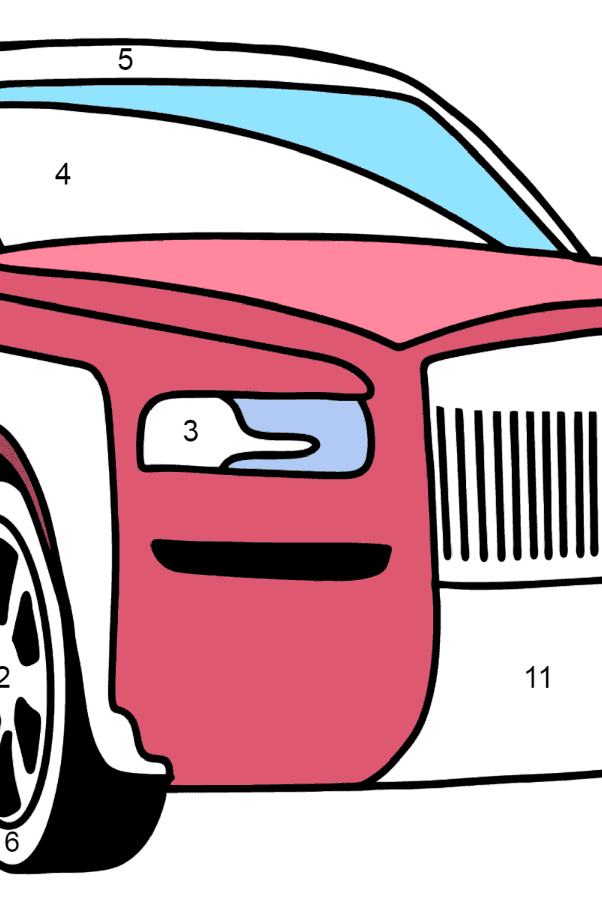 Rolls Royce Cullinan Car coloring page - Coloring by Numbers for Kids