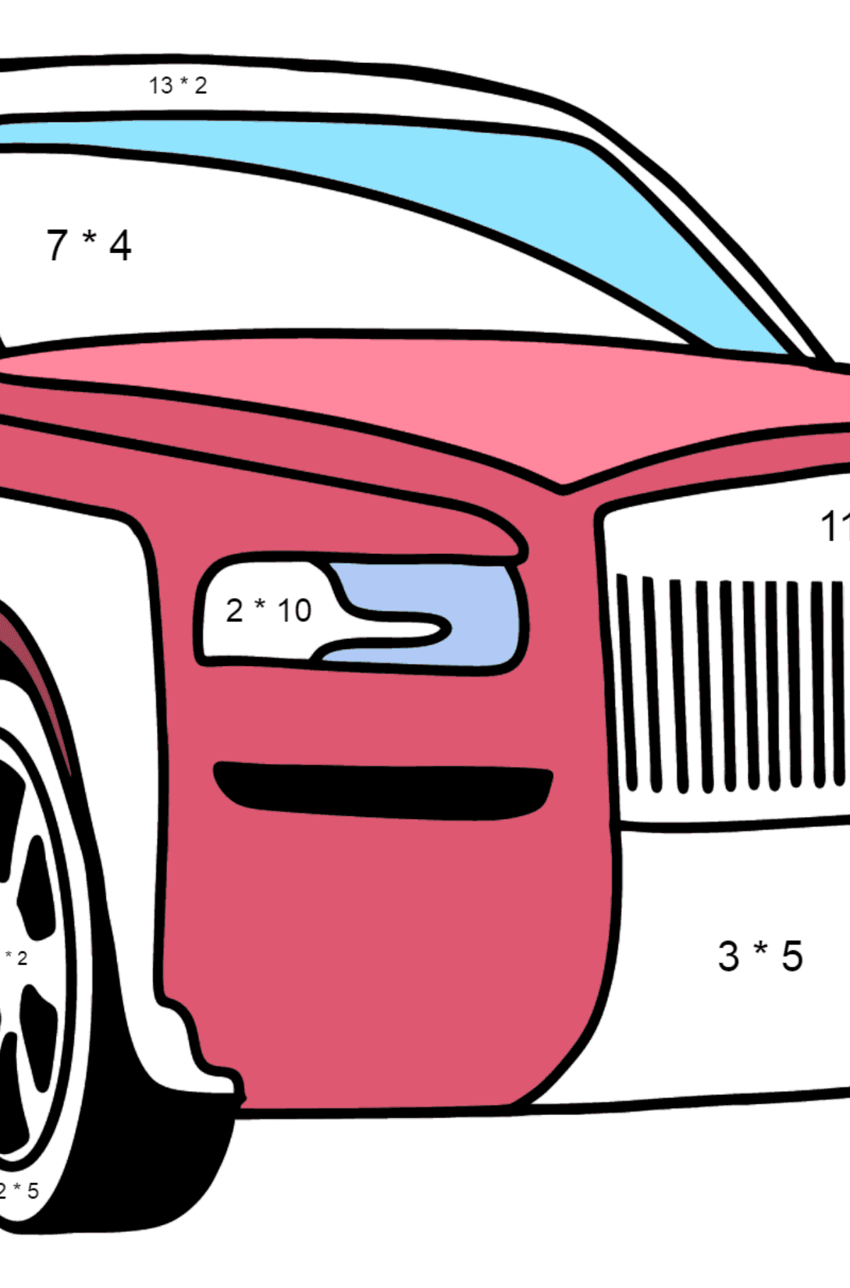 Rolls Royce Cullinan Car coloring page - Math Coloring - Multiplication for Kids