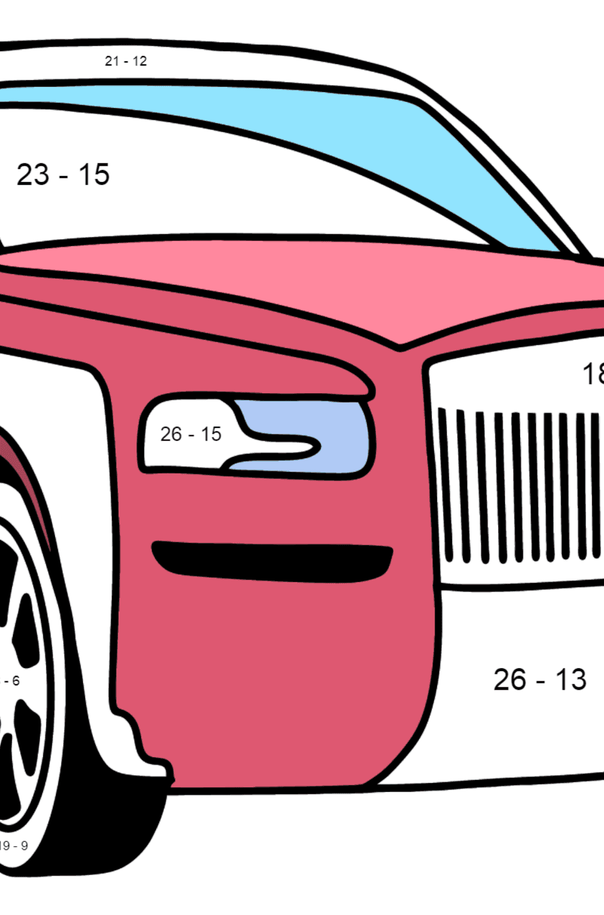 Rolls Royce Cullinan Car coloring page - Math Coloring - Subtraction for Kids