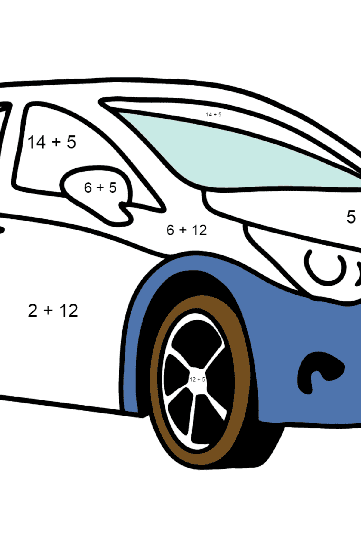 Toyota Avensis Car coloring page - Math Coloring - Addition for Kids