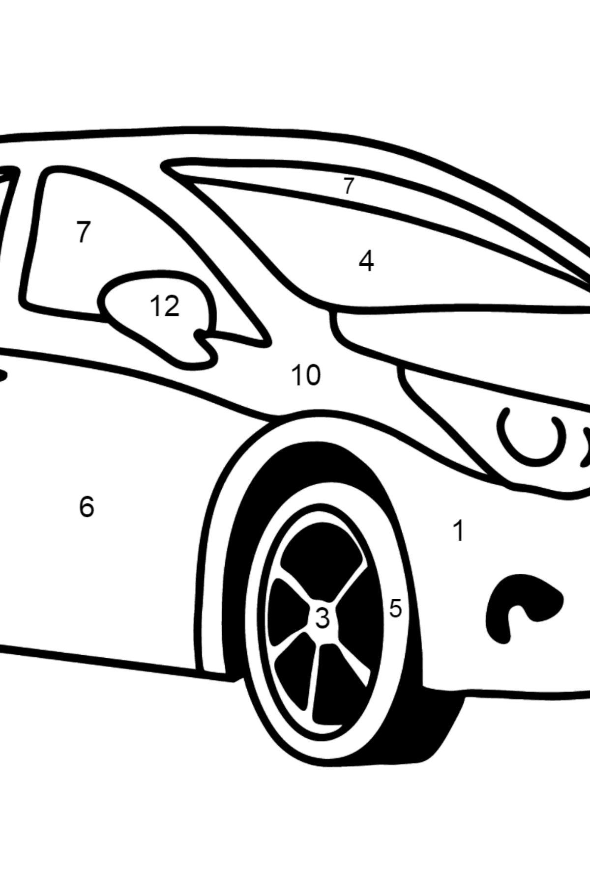 Toyota Avensis Car coloring page - Coloring by Numbers for Kids