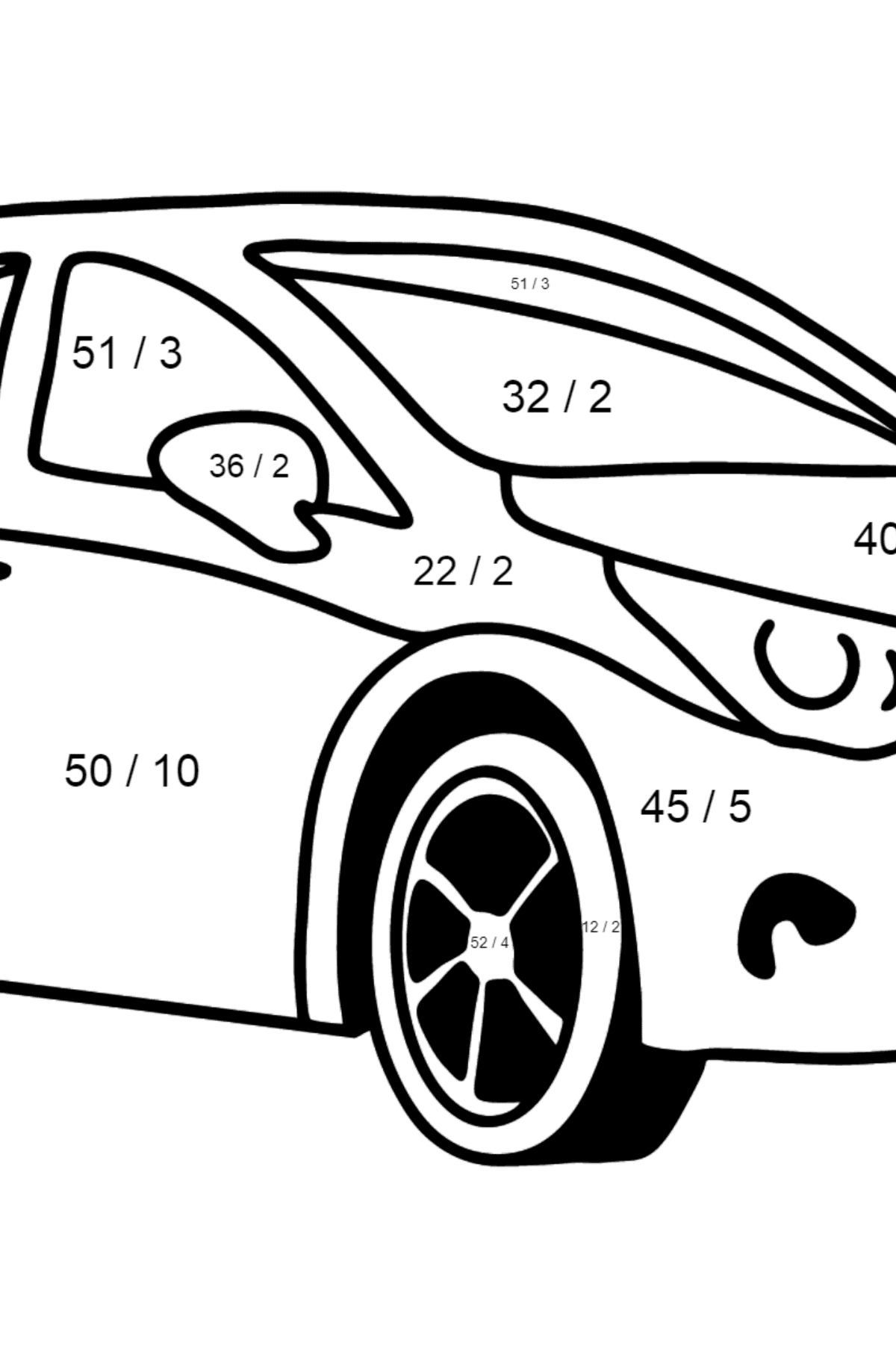 Toyota Avensis Car coloring page - Math Coloring - Division for Kids