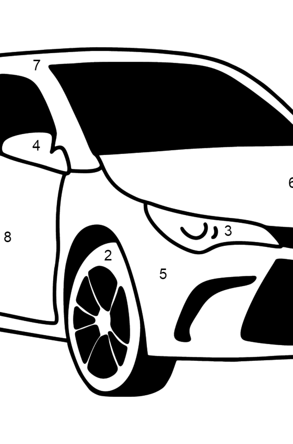 Toyota Camry coloring page - Coloring by Numbers for Kids