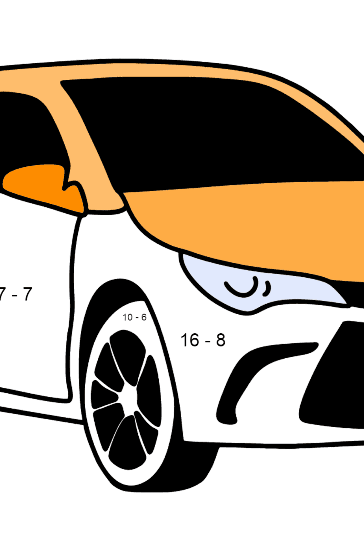 Toyota Camry coloring page - Math Coloring - Subtraction for Kids