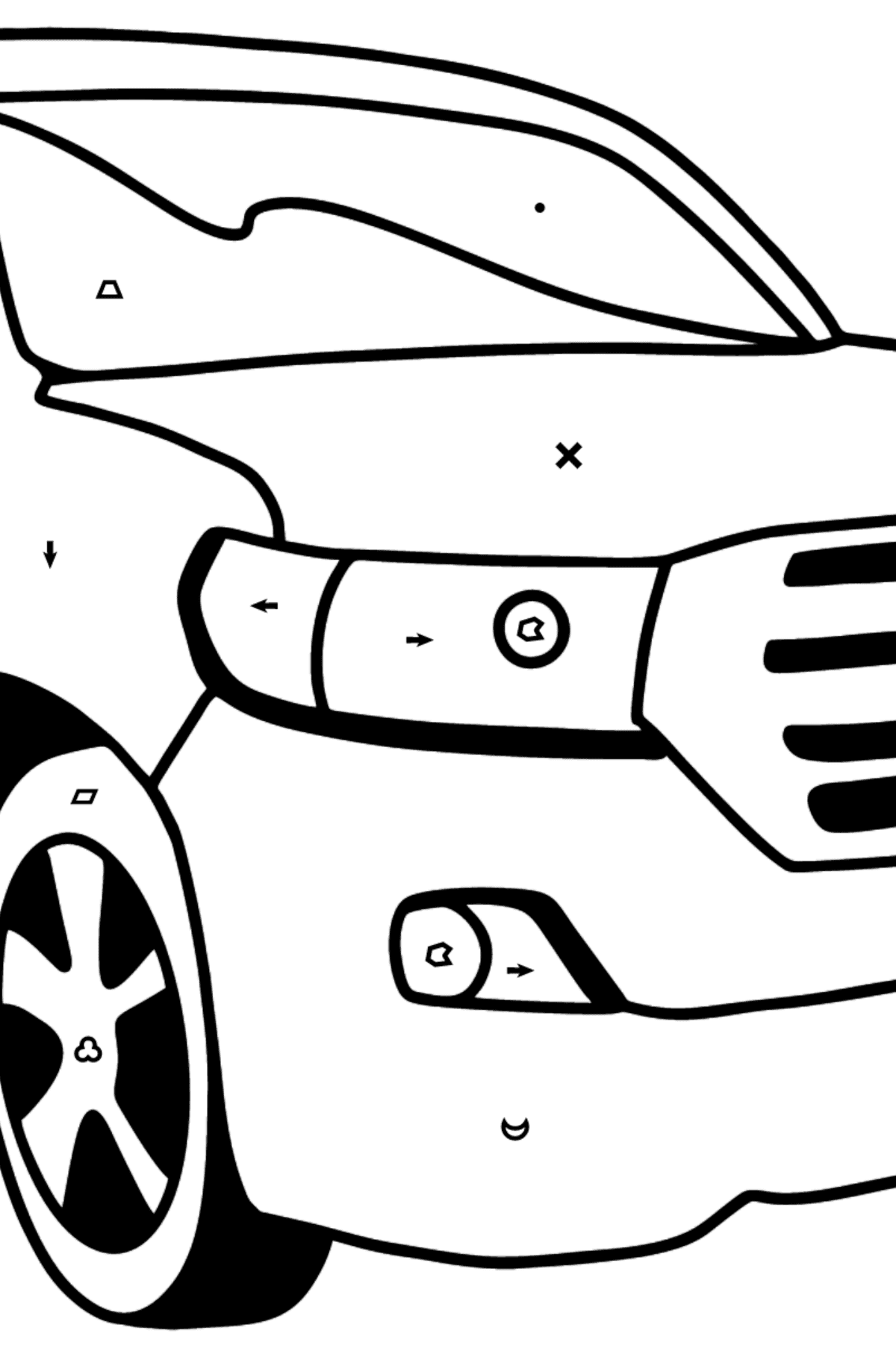 Toyota Land Cruiser Car coloring page - Coloring by Symbols and Geometric Shapes for Kids
