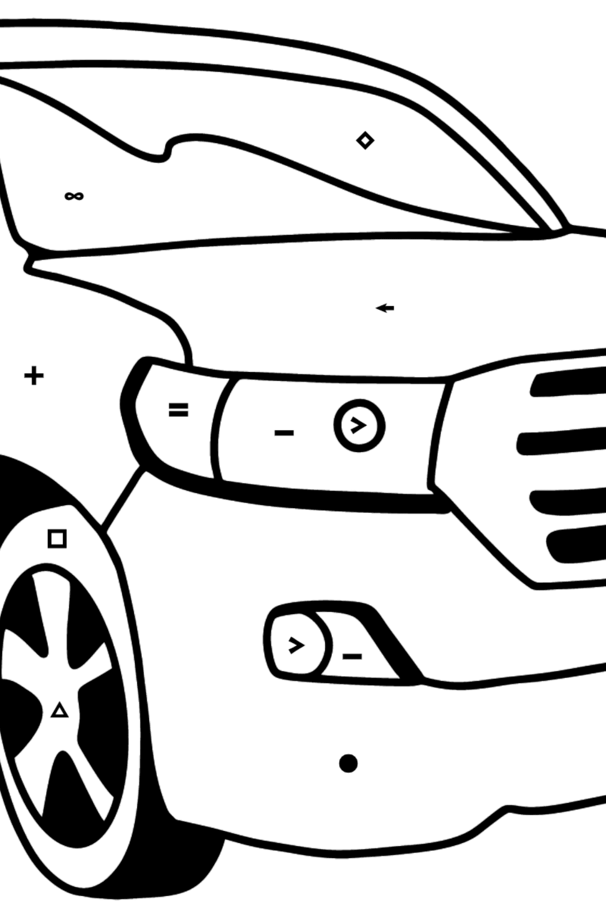 Toyota Land Cruiser Car coloring page - Coloring by Symbols for Kids