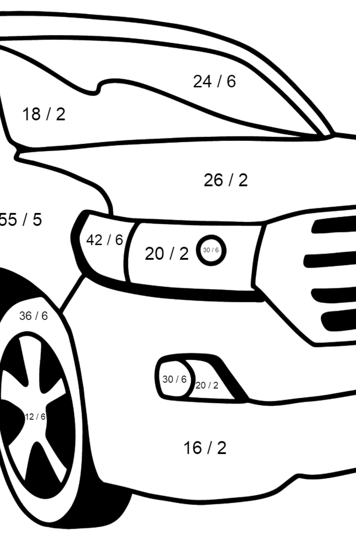 Toyota Land Cruiser Car coloring page - Math Coloring - Division for Kids