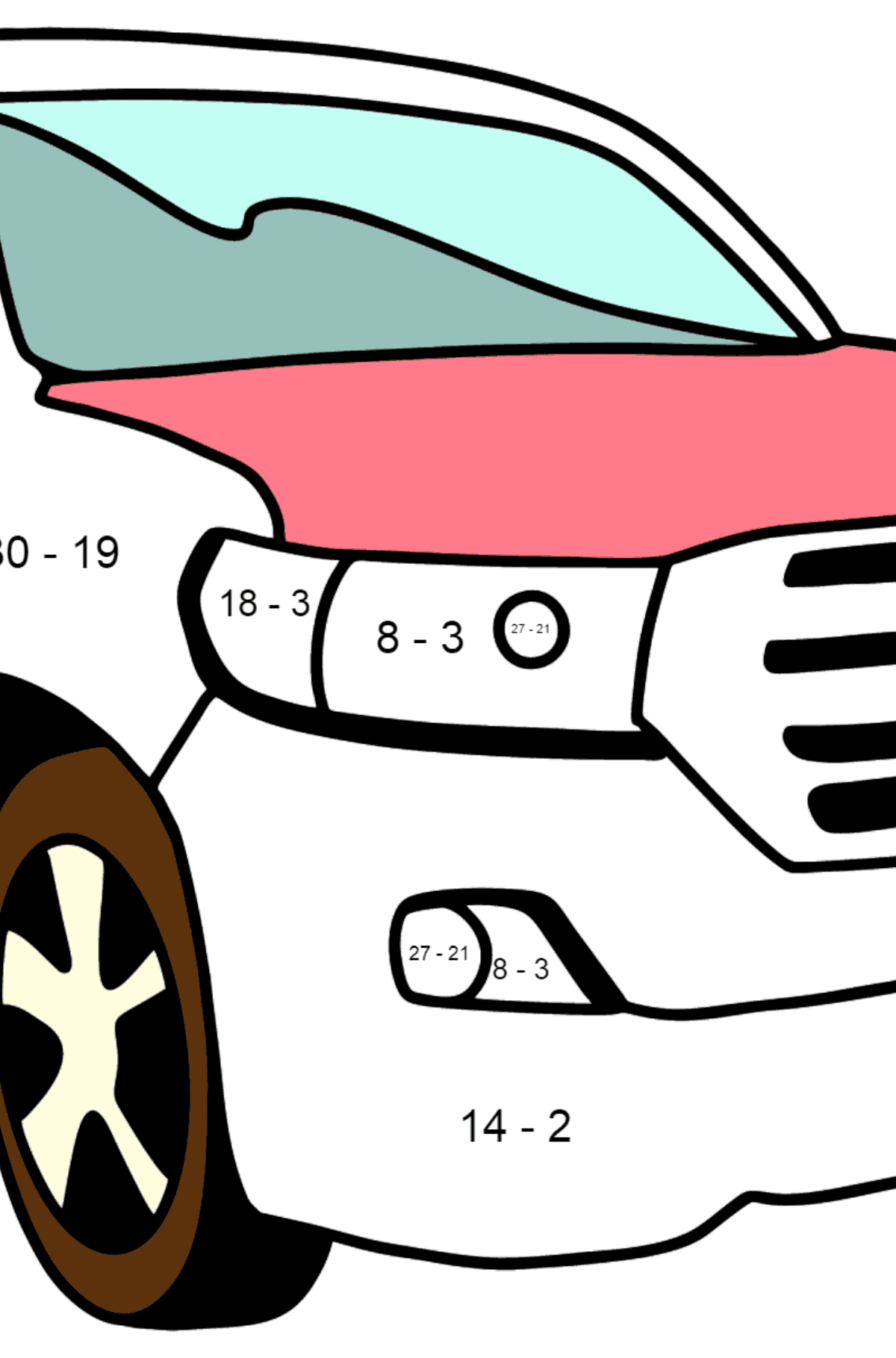Toyota Land Cruiser Car coloring page - Math Coloring - Subtraction for Kids