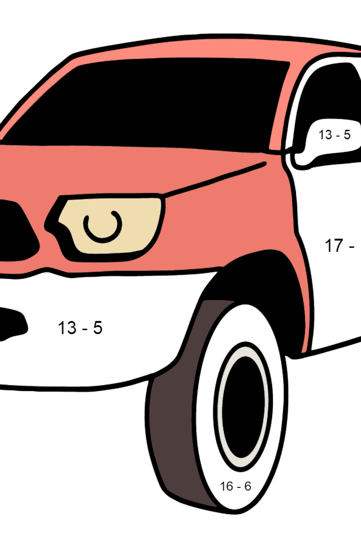 Toyota Tacoma Pickup Truck coloring page - Math Coloring - Subtraction for Kids