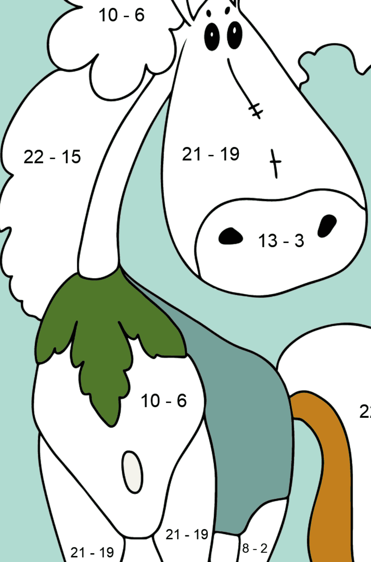 Coloring page a horse fashionista - Math Coloring - Subtraction for Kids