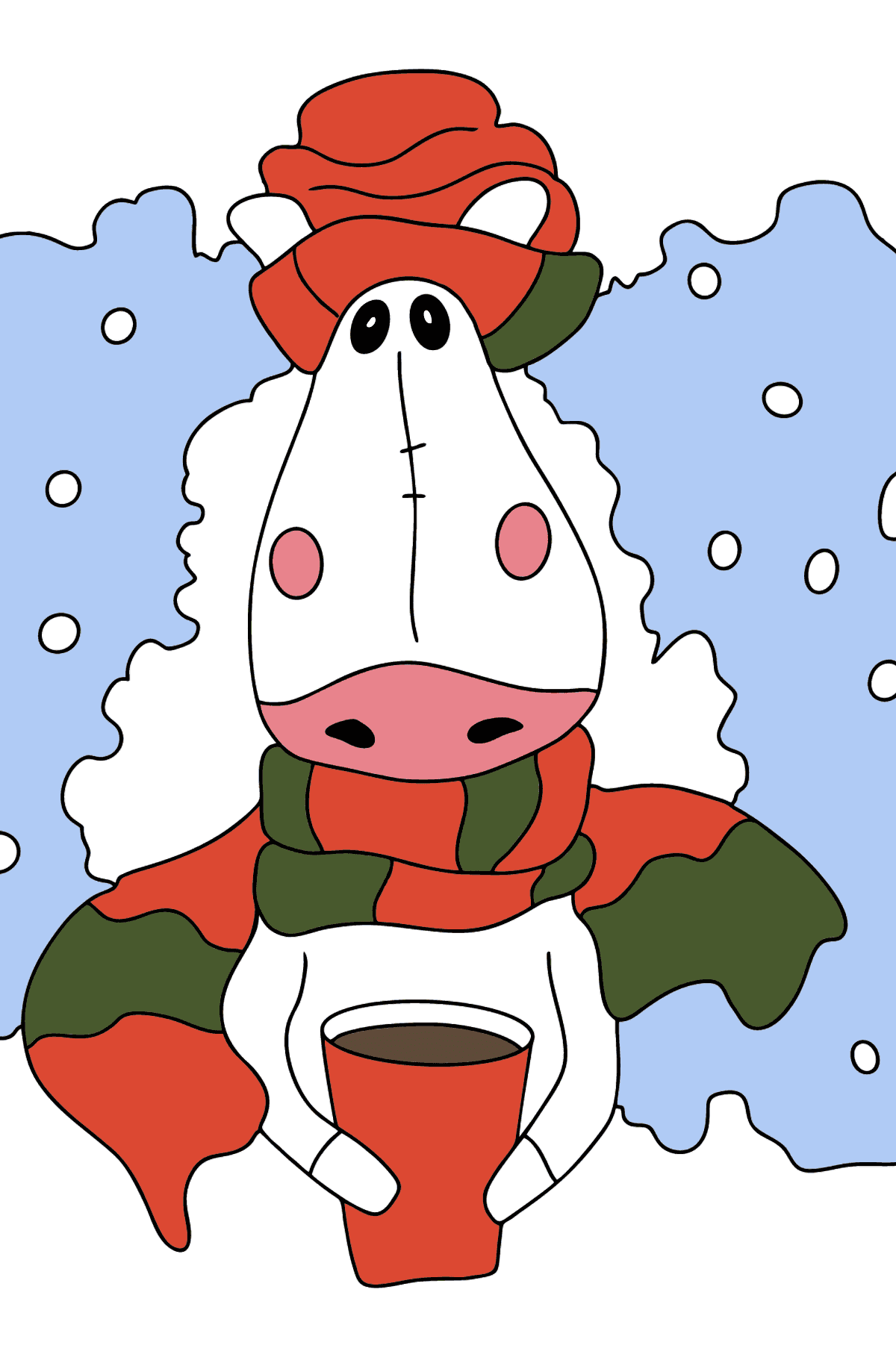 Coloring page a horse in a scarf - Coloring Pages for Kids