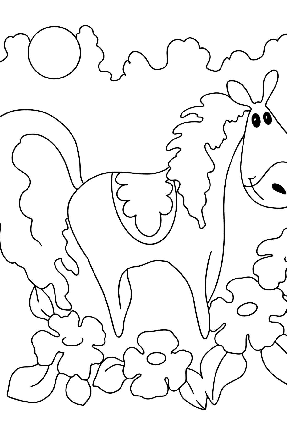 Coloring page a horse in flowers - Coloring Pages for Kids