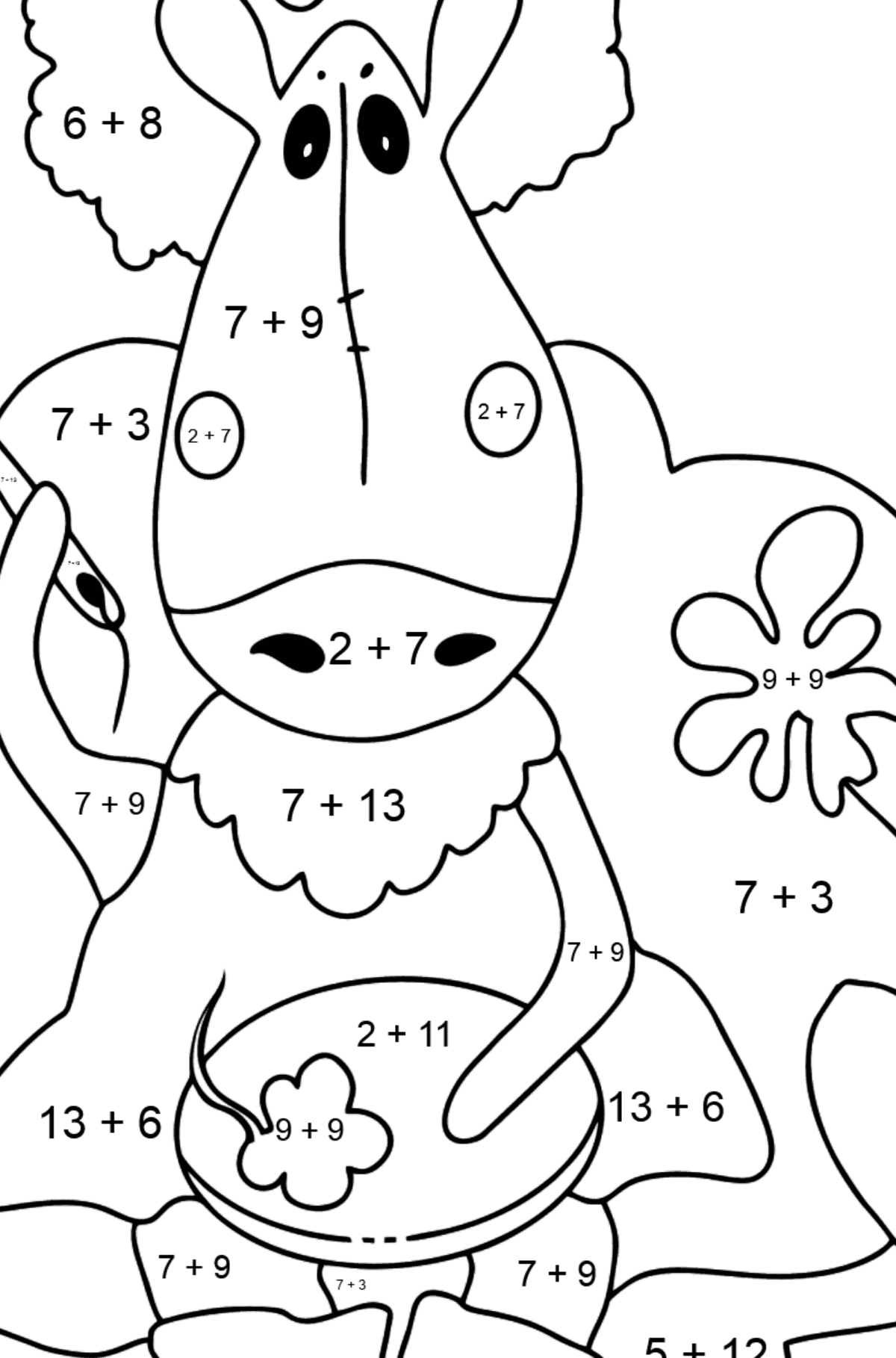 Coloring page a horse on the sofa - Math Coloring - Addition for Kids