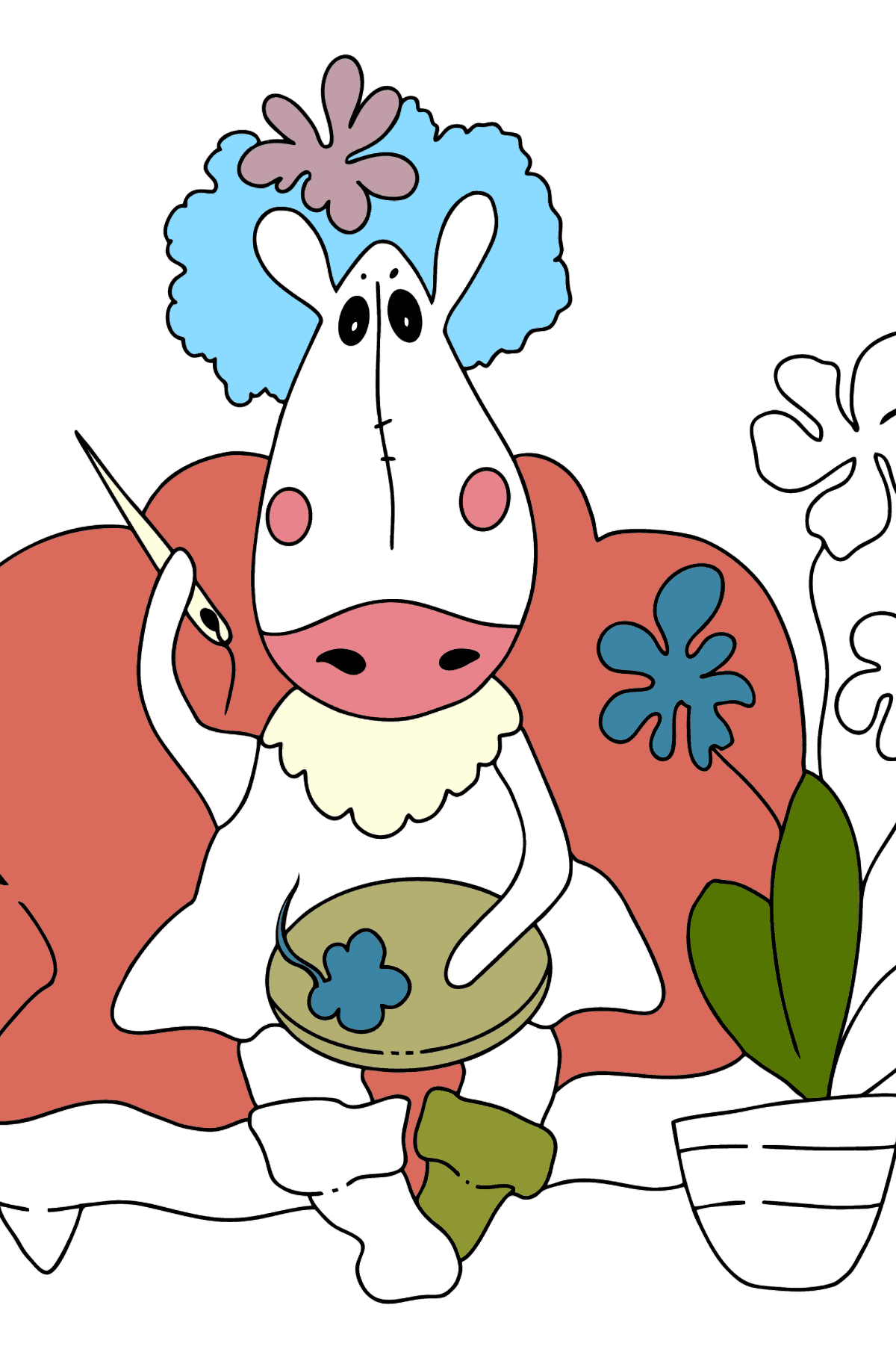 Coloring page a horse on the sofa - Coloring Pages for Kids