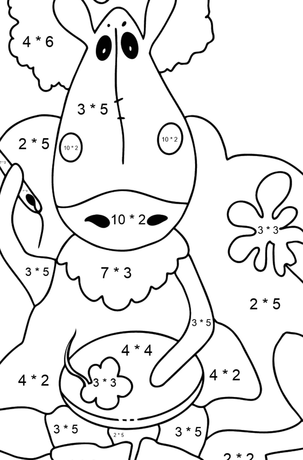 Coloring page a horse on the sofa - Math Coloring - Multiplication for Kids